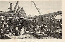 PARIS EXPO UNIVERSELLE VISITEURS SUR PLATE FORME TOUR EIFFEL TOWER IMAGE 1889