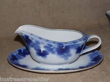 Vintage Japan Amish Blue Gold Leah Gravy Boat with Liner/Relish Plate