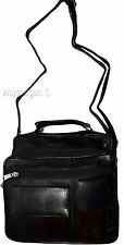 New Men's Leather bag, Black leather bag, handle/strap Unbranded day bag, bnwt *