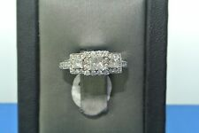 Women's 14k white gold three stone princess cut diamond engagement ring