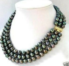 """New 3 row 7-8MM Black Tahitian culture Pearl Necklace 17-19"""""""