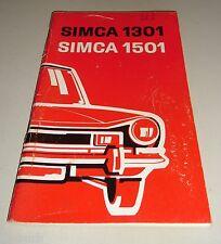 Betriebsanleitung Handbuch Simca 1301 / 1501 Stand 11/1971