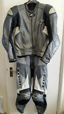 ALPINESTARS SX-1 TWO PIECE MENS MOTORCYCLE LEATHERS GREY UK 48 EU 58