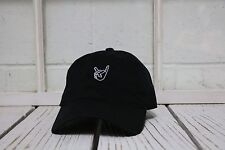 NEW ROCK ON EMBROIDERED POLO BASEBALL HAT HIP HOP CAP BLACK/WHITE THREAD