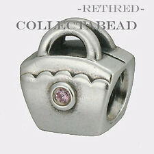 Authentic Pandora Silver Pink CZ Scalloped Purse Bead 790473PCZ *RETIRED*