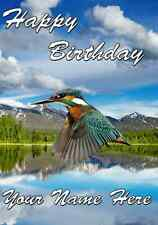 Kingfisher  card A5 Personalised Greeting Card Happy Birthday ref803 bird