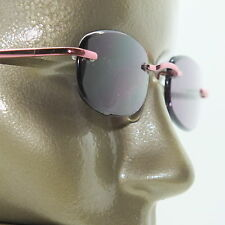 Reading Glasses Sun Reader Tinted +1.00 Lens Petite Frameless Pink Metal Trim