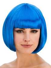 Ladies Diva Short Hair Blue Bob Wig Fringe Fancy Dress Hollywood 1980s Disco New
