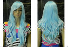 Excellent Light Blue + white Mix Long Wavy Cosplay women Wig + Free Hairnet