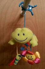 USED ~ BRIGHT STARTS PLUSH FROG WITH MIRROR CLIP ON DEVELOPMENTAL TOY/MOBILE