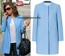 ZARA COAT LINEN JACKET BLAZER LIGHT BLUE PASTEL BLAZER SMALL - S