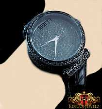 MEN'S NEW ALL BLACK BLINGMASTER KC JOE RODEO LAB DIAMOND GENUINE LEATHER WATCH