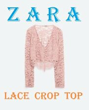 ZARA Pink Lace Cropped Blouse V-Neck Long Sleeve New (RT$33.90) Top Size S
