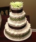 NEW Baby Gender Neutral 4-Tier Diaper Wedding Cake 150 Diapers 18 inches