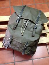 Swiss Army 1983 Military Waterproof Leather Canvas Backpack Rucksack Vintage