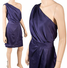 BCBGeneration BCBG 12 Midnight Blue One Shoulder Satin Tiered Formal Dress NWT