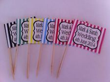 24 x Personalised Cup Cake Toppers Picks Candy Stripe Wedding Engagement