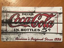 Tin Sign Vintage Coca-Cola Drink In Bottles 5 Cents