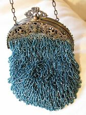 Antique Gold Filiigree Frame Crochet Knit Torquoise Green Iridescent Bead Purse