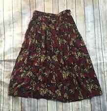 Vintage Pendleton Red Fall Leaf Leaves Acorn Long Pleated Skirt Size 10