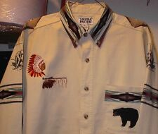 BEAR/EAGLE CREAM TWILL SHIRT (NATIVE AMERICAN LOOKING)