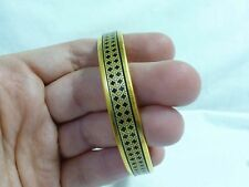 Authentic Hermes Paris Gold-Tone Black Enamel Bangle Bracelet