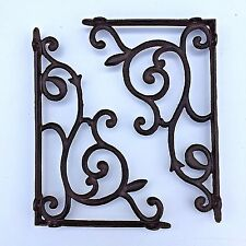 "set of 2 antique style Large Cast Iron Shelf Brackets 13"" x 8.75"" #68"
