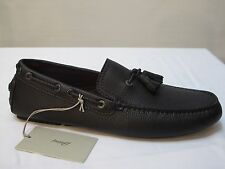 BRIONI Men's Brown Pebbled Leather Tassel Moccasins Loafers Shoes Size 8.5 M New