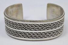 Navajo Collectable Artist TAHE Handmade Work of Art .925 Silver Cuff Bracelet