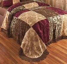 Jewel Chenille Design Patchwork Bedspread -Full/Queen