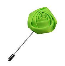 Mens Verde Rosetta Rosa Risvolto Raso Per Giacca Da Bouquet Boutonniere
