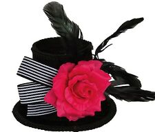 Ladies New Halloween Mini Black Top Hat With Pink Rose Gothic Bride Fancy Dress