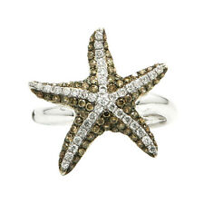 $2040 14K WHITE GOLD PAVE CHAMPAGNE COGNAC BROWN DIAMOND STARFISH COCKTAIL RING