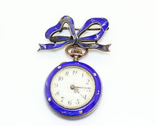 Antique Ladies FAUVETTE HAD Swiss Silver Enamel Guilloche Fob Watch Bow Brooch