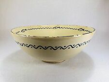 Large Vintage Slipware Pottery Bowl w/ Fish and Star Pattern