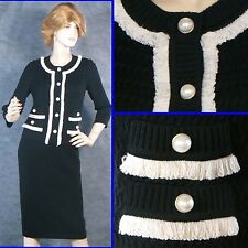 STUNNING! 2012 ST JOHN COUTURE KNIT BLACK SWEATER JACKET PEARL BUTTONS SZ 4 6