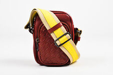 Bottega Veneta Maroon Yellow Beige Perforated Leather Mini Crossbody Bag