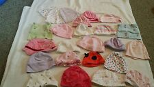 Lot of 24 baby girl hats caps beanies Newborn to 3 mths some new Gerber+