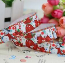 "2M 22mm 7/8"" SNOWMAN CANDY CANE CHRISTMAS GROSGRAIN RIBBON 99p CAKE PARTY XMAS"
