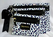Juicy Couture Make Up Bag Trio Cosmetic Bag Light Blue Animal Print Leopard Pink