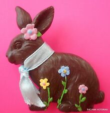 LARGE size CHOCOLATE BROWN Easter BUNNY floral accents FASHION pin BROOCH PK-2