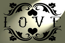 LOVE french Stencil Shabby Chic Mylar Vintage style A4 297x210 walls furniture