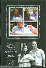 THE GAMBIA   2013 BIRTH OF PRINCE GEORGE WITH KATE & PRINCE WILLIAM SHEET