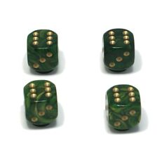 Set of  Four Green Goldmist Dice Dust Caps X4 - 80's Retro Valve Caps - BMX VW