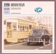 1958-1992 Hindustan Ambassador India Car Photo Spec Sheet Info Stat French Card