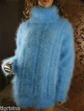 Mohair Hand Knitted Fluffy Sky Blue T-Neck Sweater Jumper ; size  L