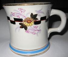 c1890 Elegant Antique Shaving Cup Mug, Greek Key & Flowers