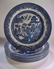 "Set of Seven (7) Churchill, England, Blue Willow Dinner Plates: 10-1/4"" - NICE!"