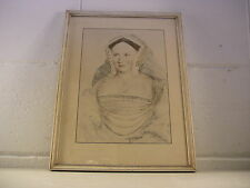 Antique Print Fine Art Print Historical Print Hans Holbein Drawing Framed 1527