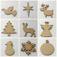 10 x Blank Wooden MDF Christmas Decorations Xmas Baubles Gift Tag Craft Shapes